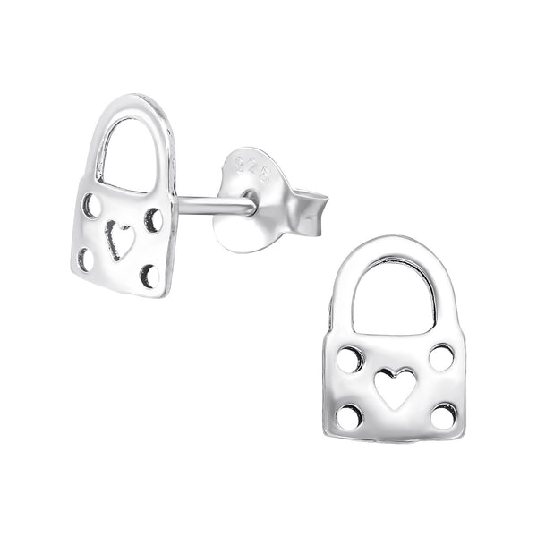 Love Heart Padlock Sterling Silver Stud Earrings - I love silver jewellery