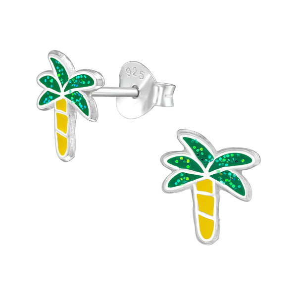 Green Tropical Palm Tree Sterling Silver Stud Earrings - I love silver jewellery