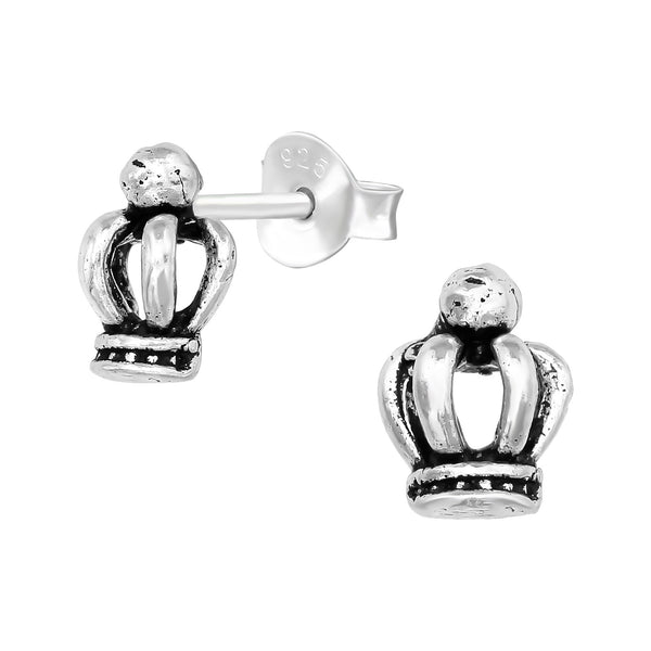 Vintage Crown Sterling Silver Stud Earrings - I love silver jewellery