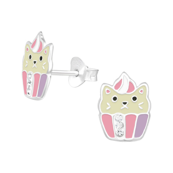 Girls Cup Cake Cat Sterling Silver Stud Earrings - I love silver jewellery