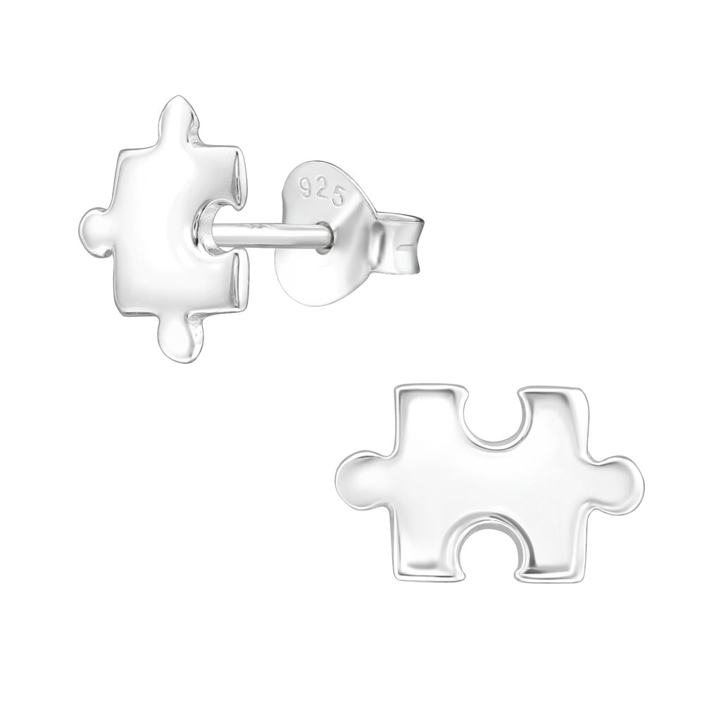 Jigsaw Piece Sterling Silver Stud Tiny Earrings 8mm - I love silver jewellery
