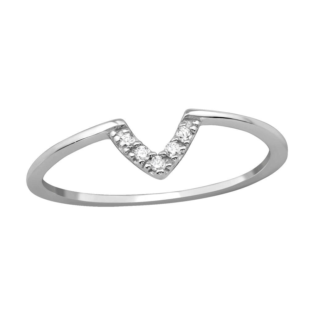 Geometric V Crystal Sterling Silver Stacking Ring - I love silver jewellery
