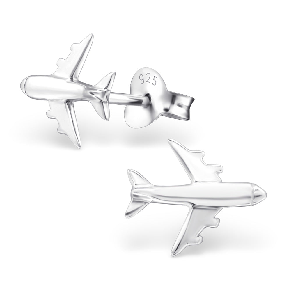 Aeroplane Sterling Silver Stud Earrings - I love silver jewellery