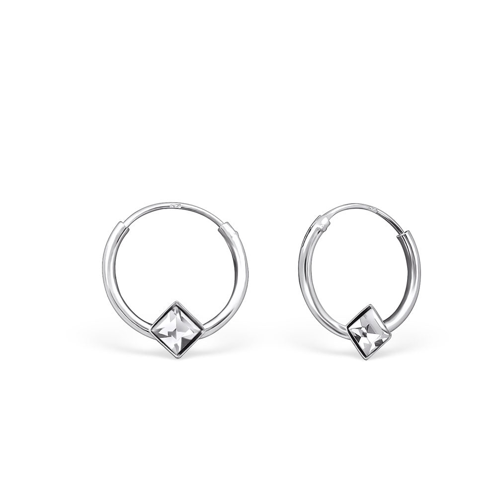 Crystal Diamond Shape Sterling Silver Mini Hoop Earrings 10mm - I love silver jewellery