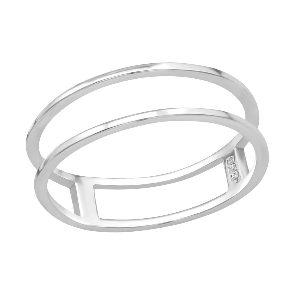 Double Row Sterling Silver Ring 5mm