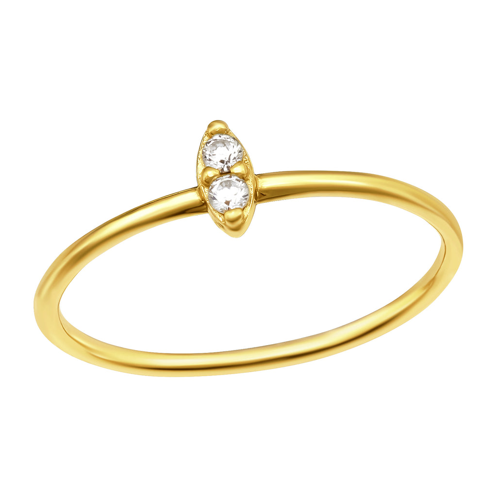 Yellow Gold Plated Marquise Crystal Sterling Silver Stacking Ring