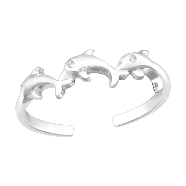Dolphin Trio Sterling Silver Band Ring