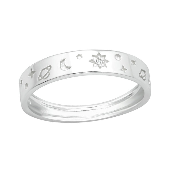 Moon & Planet Sterling Silver Wide Band Stacking Ring 4mm