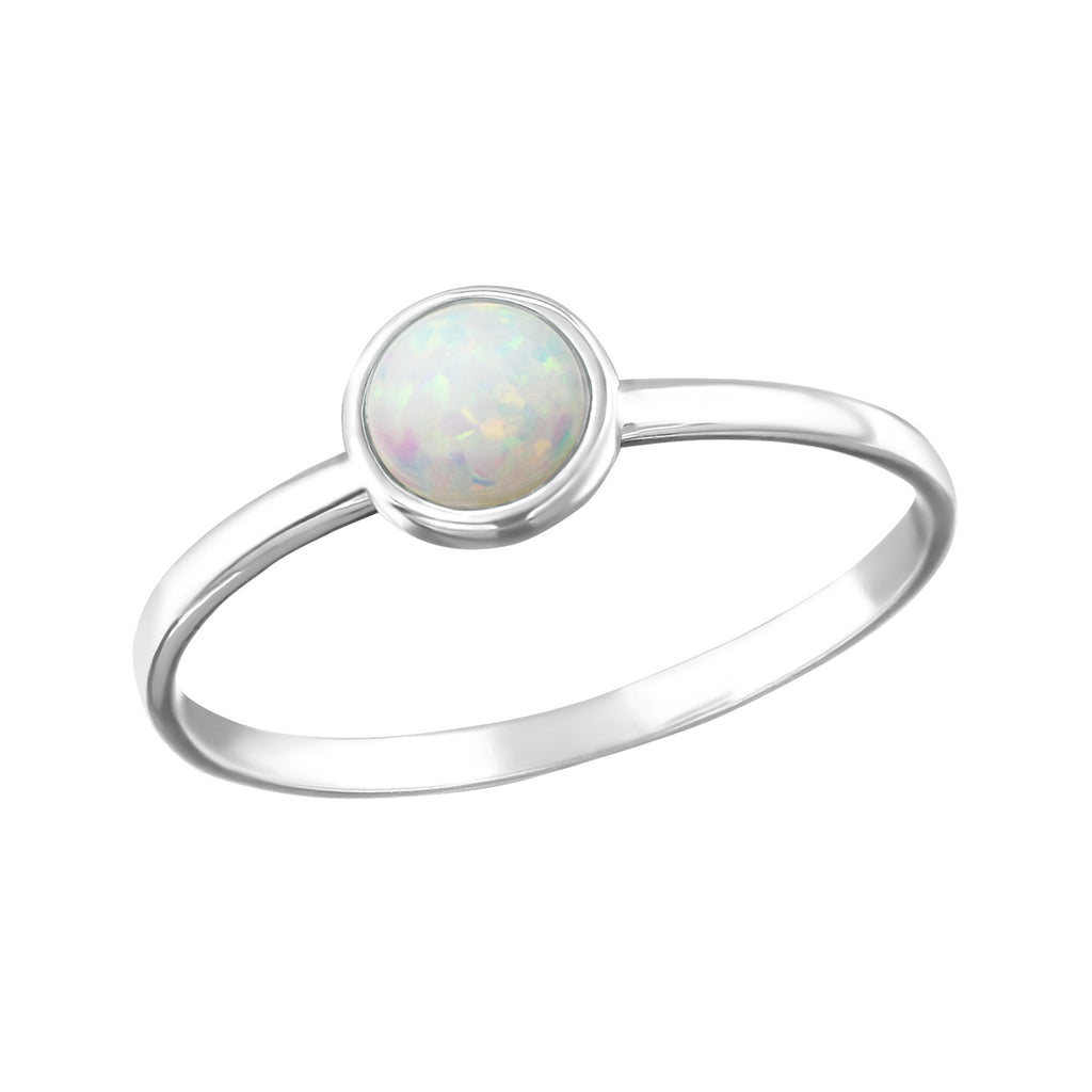 White Fire Snow Round Opal Sterling Silver Stacking Ring