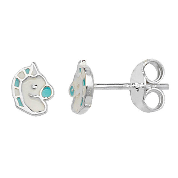 Girls Blue & White Mane Sterling Silver Stud Earrings 6mm - I love silver jewellery