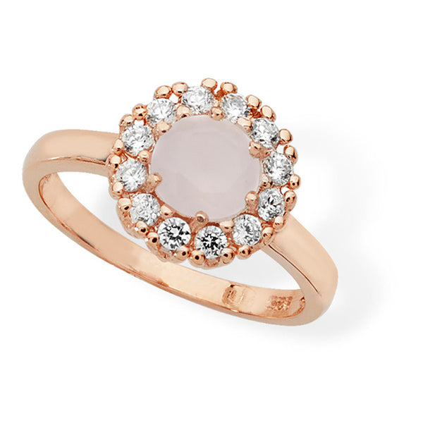 Vintage Pink CZ Rose Gold Plated Sterling Silver Ring