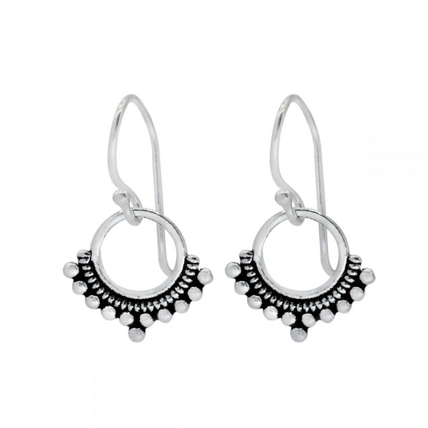 Ethnic Circle Sterling Silver Small Drop Earrings 13mm - I love silver jewellery