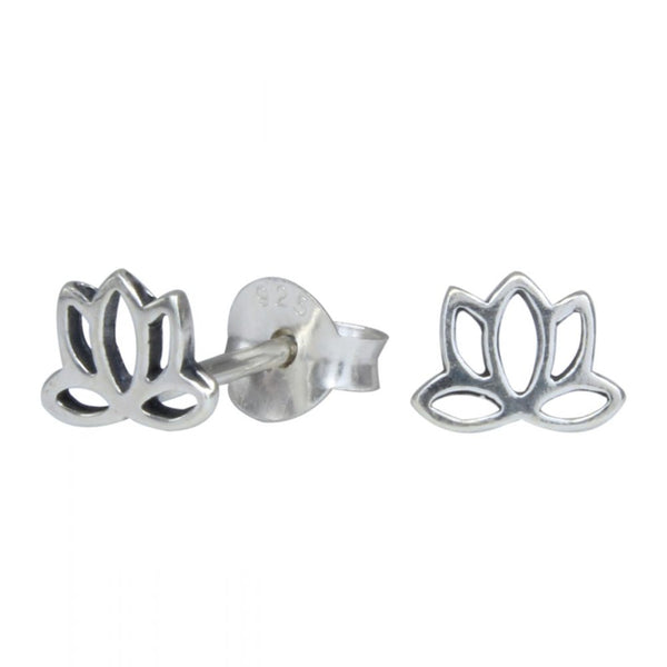 Cut Out Vintage Lotus Sterling Silver Stud Mini Earrings 6mm - I love silver jewellery