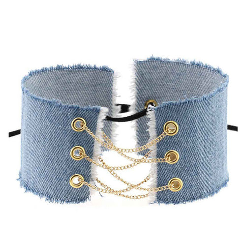 Denim Choker with Chain