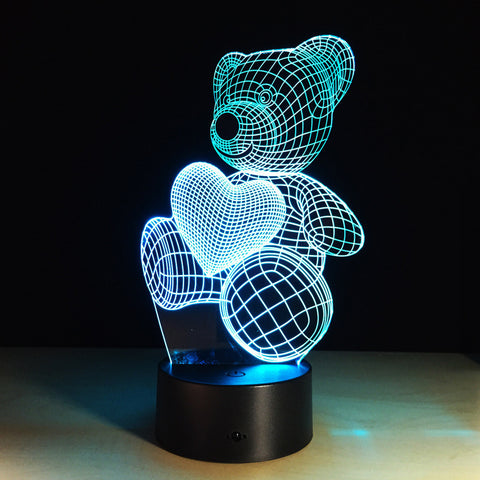 Acrylic LED Teddy Bear 3D Desk Light/Lamp