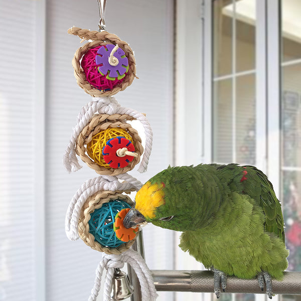 Interactive Hanging Seagrass Wafer Bird Toy With Bell