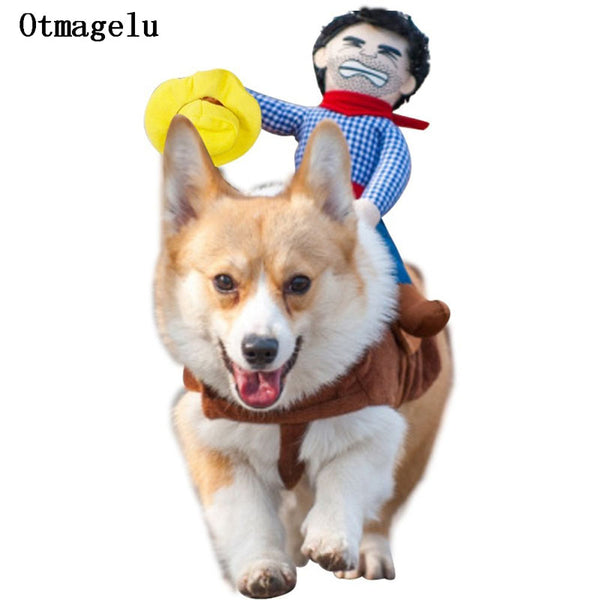 Western Halloween Pet Cosplay Costume Cowboy Riding Dog