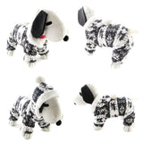 Warm Fleece Reindeer & Snowflake Print Dog Sweater With Hoodie