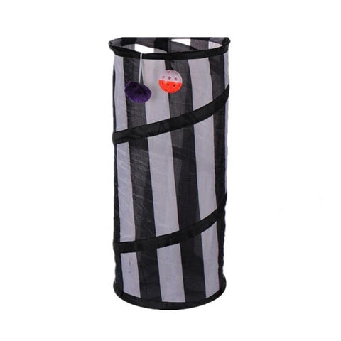 Portable Cat Tunnel Black & Gray