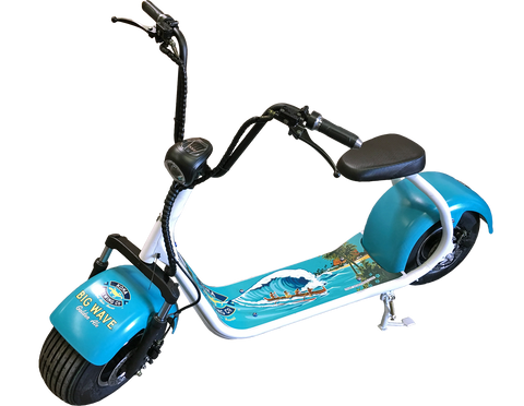 fat tire electric scooter - custom blue