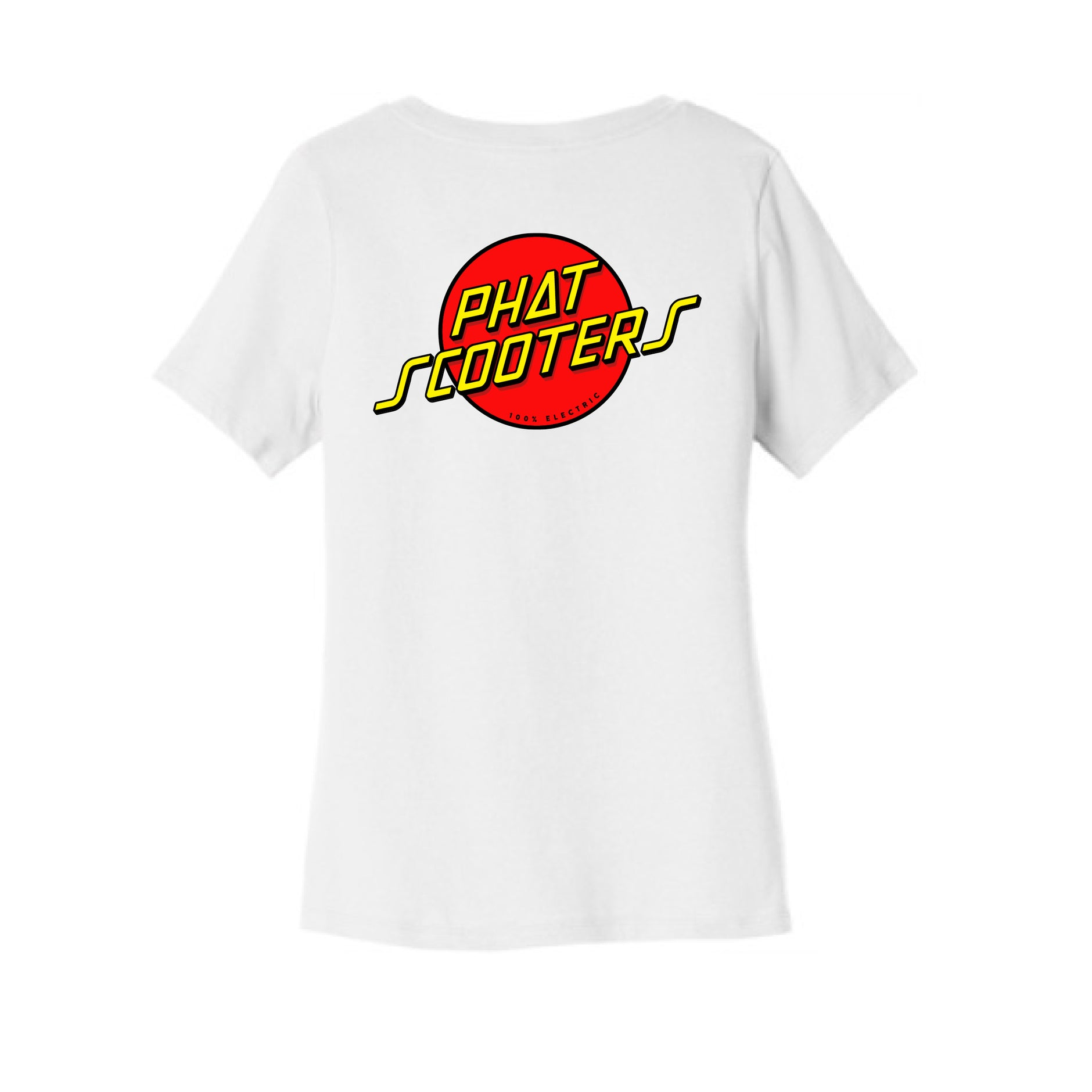 Women's Red and Yellow Logo V-neck Tee