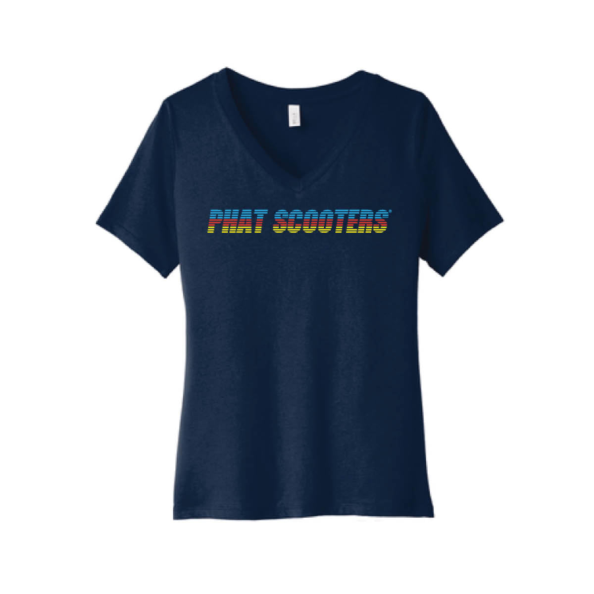 Tri-Color Logo Women's Navy V-neck Tee