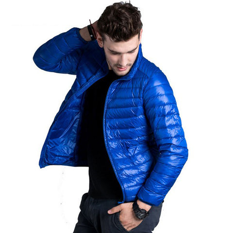 Down Jacket Men Casual Spring Autumn Winter Stand Collar Fashion Warm Coat Mens Ultra Light Thin White Duck Down Jackets