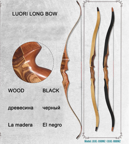 Archery Recurve Bow Integrated Wooden Long Bow For Hunting Shooting Training Right Hand