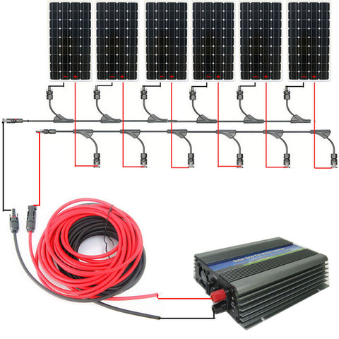 USA style COMPLETE KIT 900w 6*150w mono solar panel system with 1000W 12v/120v grid tie invertor