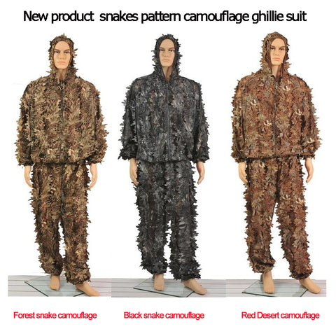 New three kinds snakes Python pattern camouflage ghillie suit laser cutting fast dry hunting clothes  Suitable for Summer Autumn