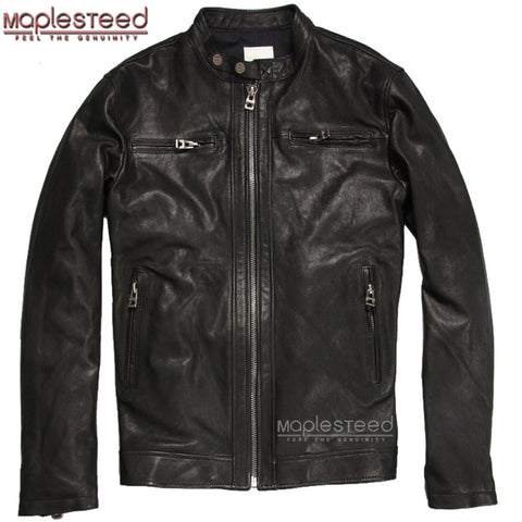 MAPLESTEED Brand Men Genuine Leather Jacket For Men Real Matte Goat Skin Jacket Black Male Leather Coat Autumn Plus Size 6XL 031