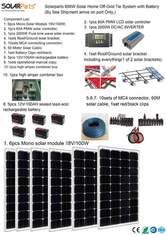 Boguang Solarparts 1x 600W Solar Home off-grid tie systems sea shipment 6pcs 100W mono solar modules bracket DIY kits panel bat