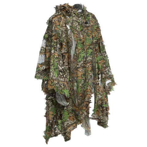 1.5m 3D Hunting Camouflage Ghillie With Cap Suit Clothes Jungle Cloak Poncho Camo Bionic Leaf For Sniper Photography