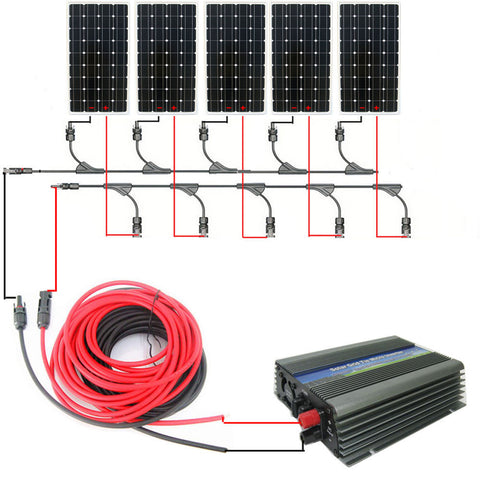 USA style home systerm:750w 5*150w mono solar panel system with 1000W 12v/120v grid tie invertor