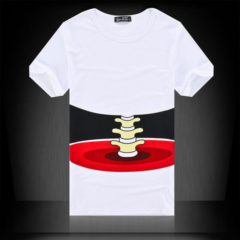 Summer White Bone Print Short Sleeve Mens T-shirt Fashion Brand High Quality Tees O-Neck  Men Tops T Shirt S-XL HO668944
