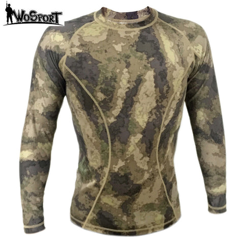 WOSPORT Tactical Camouflage Quick Dry  Long-sleeved T-shirt Army Military Breathable Tights Hunting Clothing Shirts Sportwear