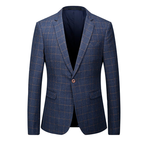 2017 Spring Summer Blue Plaid Suit Jacket Slim Man Brand-Clothing Business Dress Cheap Wedding Blazers Striped Mens Coat