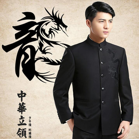 Dragon Embroidery Mandarin Collar Suit Jackets Men Chinese Style Blazers 2017 New Male Kung Fu Jacket Free Shipping