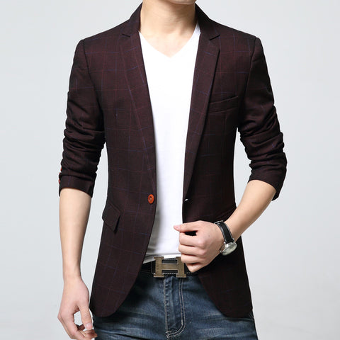 2017 New Autumn and spring Fashion lattice Blazer Men Casual Suit Mens Brand Slim Fit One Button Men Suit Jacket 6XL free delive