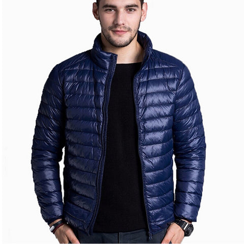 2017 Mens Down Jacket Fashion Spring Autumn Winter Stand Collar Casual Warm Coat thin White Duck Down Jackets Men Parkas