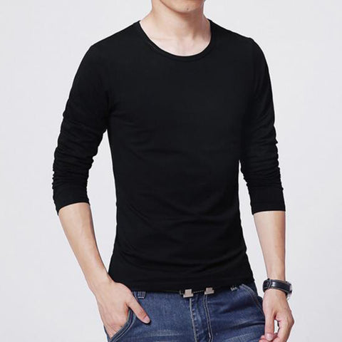 Hip Hop Simple Male Basic T-Shirts Casual Slim Soft Solid Color O-Neck Long Sleeve Shirts Men's Top Tees Clothings Size L-XXL