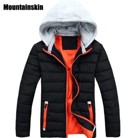 Mountainskin 2017 Men's Winter Cotton Jacket Hooded Casual Thick Warm Clothing Solid Padded Thermal Parkas fashion Coats SA110