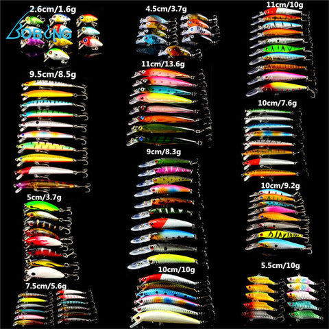 109 pcs/ set Lot Wobbler Minnow Bass Fishing Lures Crankbait Tackle Steel Hooks Outdoor Fishing Accessory Spinner Spinners