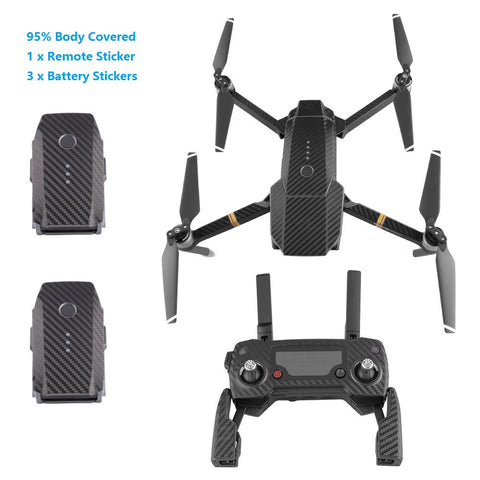 TELESIN Carbon Fiber Drone Body Skin Wrap and Remote Controller Decal Sticker Battety Cover Protector Set for DJI Mavic Pro