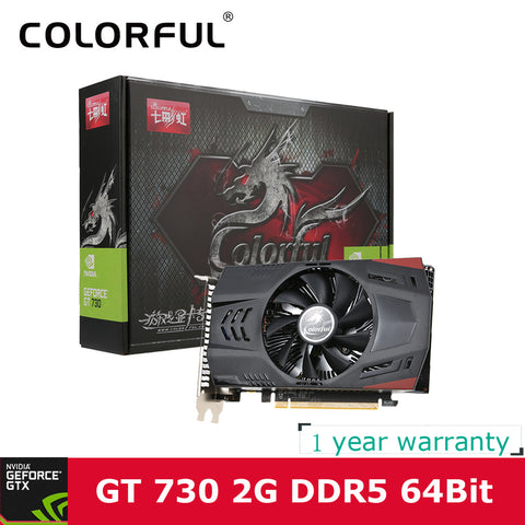 Colorful NVIDIA GeForce GT 730 GPU 2GB DDR5 64bit DVI+VGA+HDMI Port PCI-E X16 2.0 Video card Graphics Card for computer desktop