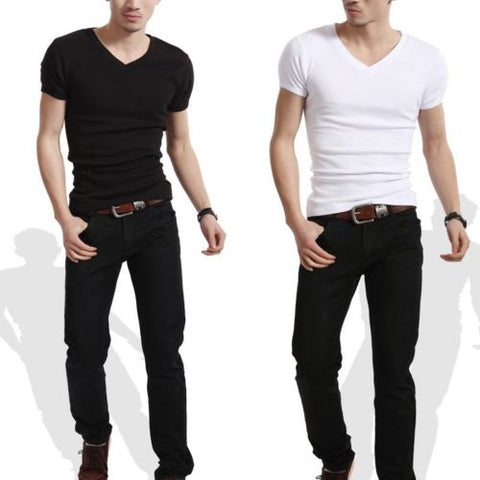 2017 New Men's Plain Slim Fit Plain V Neck  Two Style Crew Neck T-Shirts Muscle Tee Short Sleeve Shirt