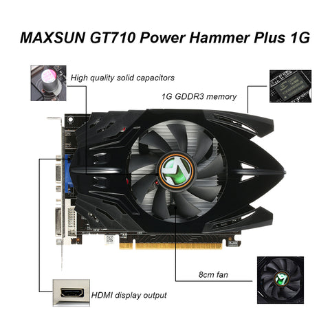 MAXSUN Graphics Card GT710 Power Hammer PLUS 1G Gaming Video Graphics Cards 954/1600MHz 1G/64bit GDDR3 PCI-E HDMI+DP+DVI Ports