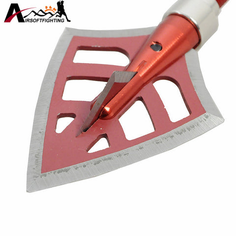 125 Grain Red Archery Arrowhead with 2 Sharp Blade Outdoor Hunting Shooting Military Steel Arrow Tip Broadheads Tactical Gear