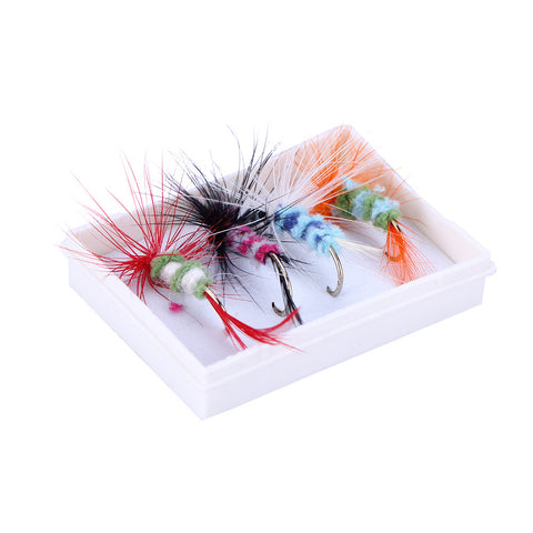 4pcs/LOT Insect Fly Fishing Lure Artificial Fishing Bait Feather Single Treble Hooks Carp Fish Lure Water surface Plastic box