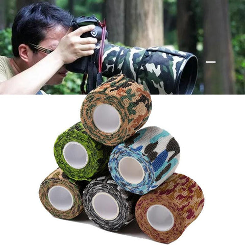 1 Roll Outdoor Self-adhesive Non-woven 5cmx2.2m Camouflage Wrap Rifle Hunting Shooting Cycling Tape Waterproof Camo Stealth Tape